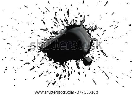 Big black ink splatter - stock photo