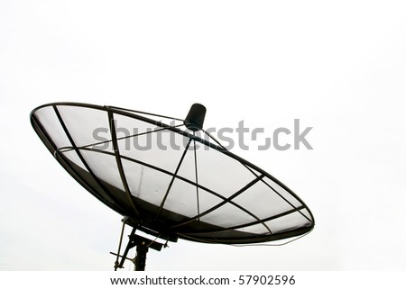 Big Black Satellite Dish isolated on White sky