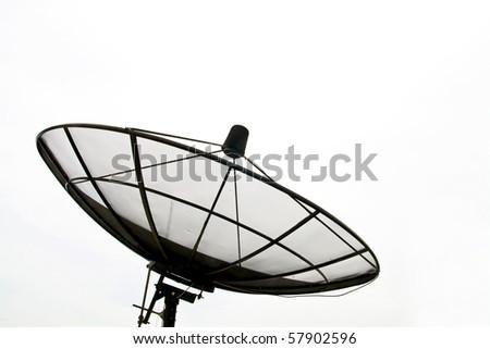 Big Black Satellite Dish isolated on White sky - stock photo