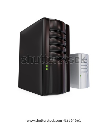 Big black server PC and the small one. 3d rendered. Isolated on white background.