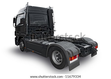 Big black truck isolated on the white background