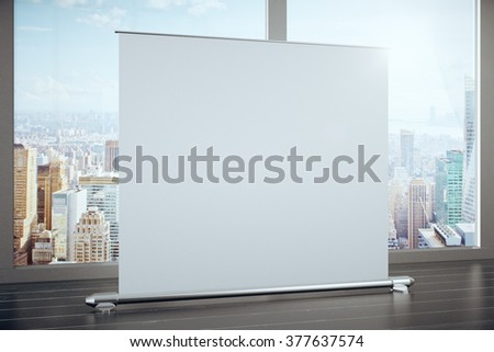 Big blank advertising banner in a room with large windows, mock up - stock photo
