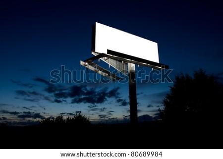 big blank billboard lighten in night - stock photo