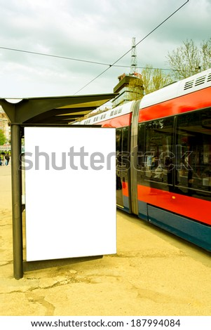 Big blank billboard on the tram station - stock photo