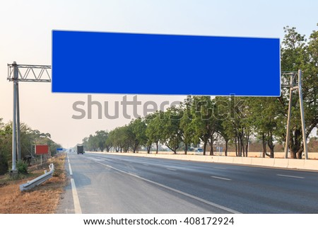 Big blank sign on the road in Thailand