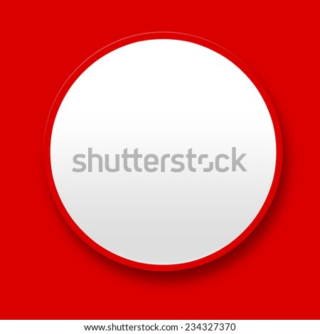 Big blank white button on red background - stock photo