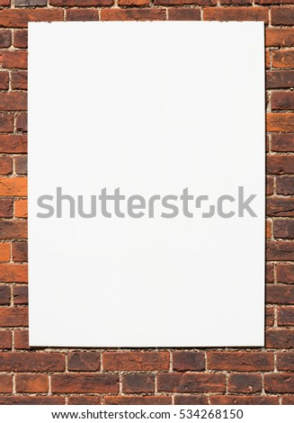 Big blank white sign on a wall ready for text.