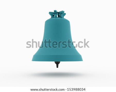 Big blue bell rendered and isolated on white background - stock photo
