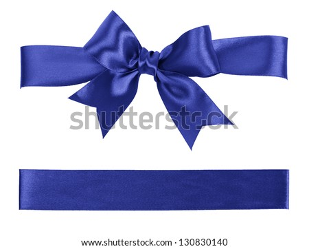 big blue bow made from silk ribbon - stock photo