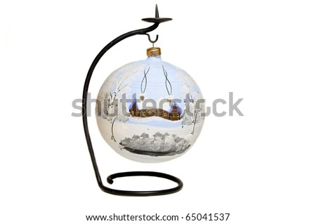 Big blue decorated christmas ball on stand isolated on white background - stock photo