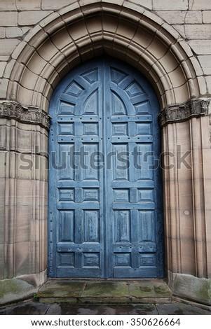 Big blue door - stock photo