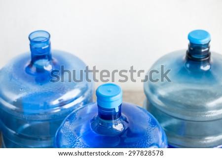 Big blue drinking water barrels  - stock photo