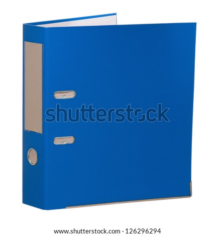 Big blue folder for document, isolated on white background - stock photo