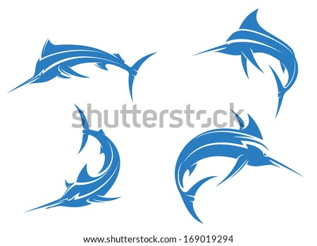 Big blue marlins with sharp nose isolated on white background for fishing sport design, or logo idea. Vector version also available in gallery - stock photo