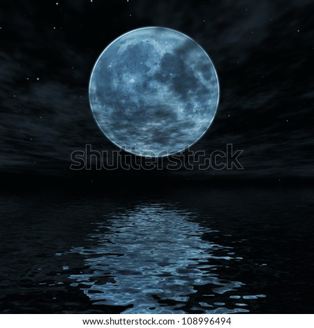 Big blue moon reflected in water wavy surface - stock photo