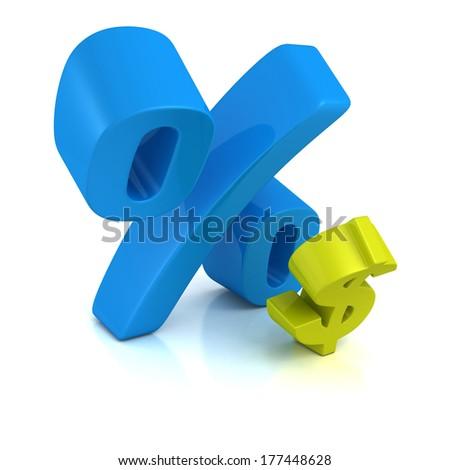 big blue percent sign over small dollar symbol. tax debt finance concept. shiny 3d render illustration - stock photo