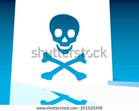 big blue skull outline cut icon in white plane - stock photo