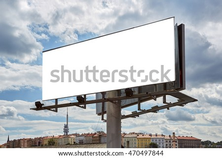 Big board with city panorama and blue sky with clouds. Place for marketing and business communication with beautiful  view.