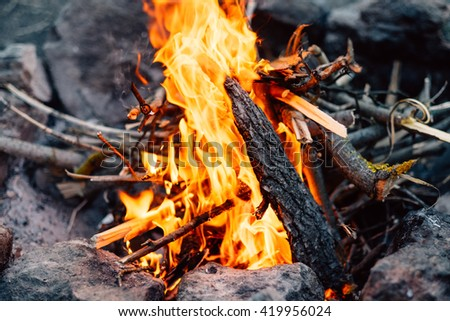 Big bonfire fire on wild nature background with stones. Close-up travel, adventure hot and bright flame light. Cozy evening in the forest outdoors. Burning wooden firewood, log, timber.