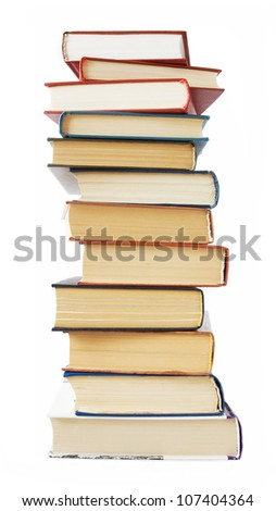 Big book pile isolated on white background