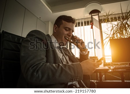 big boss in his office - stock photo