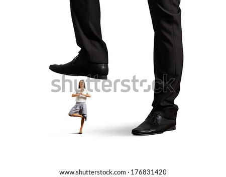 big boss put pressure on young businesswoman. isolated on white background