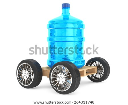 Big bottle of drinking waterwith wheels on a white background - stock photo