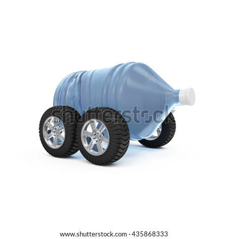 Big Bottle of Water on Wheels isolated on white background. Delivery Concept. 3D Rendering