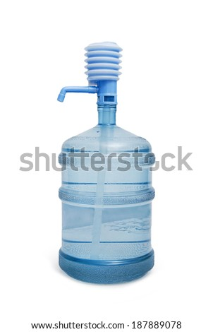 Big bottle of water with pump isolated on a white background - stock photo