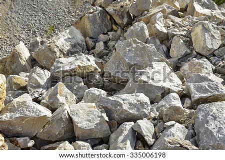 big boulder of limestone in mining - stock photo