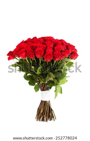 Big bouquet of red roses isolated on white background - stock photo