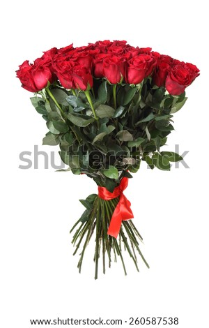 big bouquet of red roses. It is isolated on a white background.