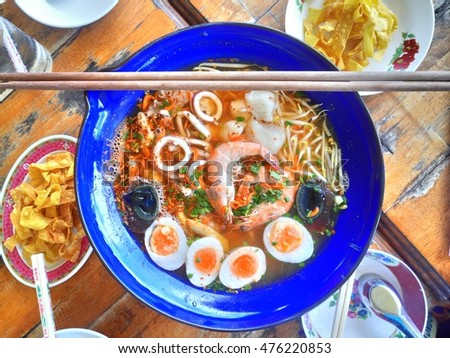 big bowl spicy noodlein thailand known stock photo royalty free