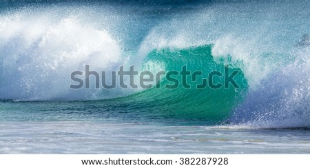 big braking wave on the ocean - stock photo