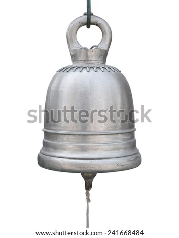 big brass bell isolated on white - stock photo