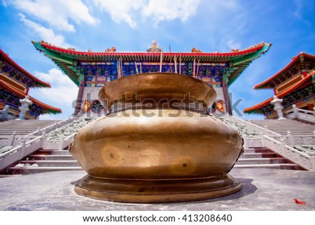 Big brass incense burner of Chinese temple. - stock photo