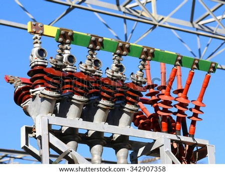 big breakers of the power plant for the production of wind energy - stock photo