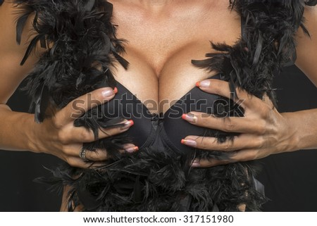 Big Breasts Woman In Sexy Corset Underwear and feather bow - stock photo