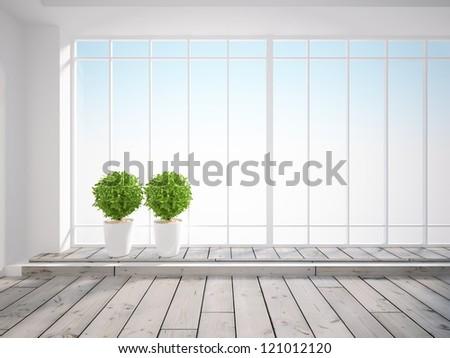 big bright window in the white room - stock photo
