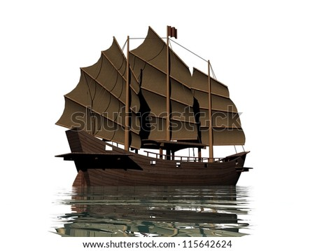 Big brown oriental junk floating on water in white background - stock photo