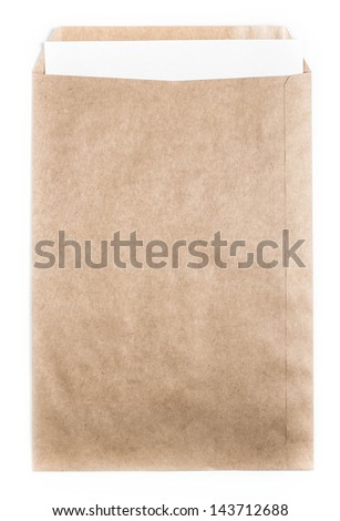 Big Brown  recycled Envelope document with paper card on white background, - stock photo
