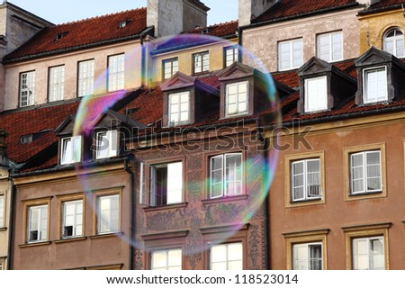 big bubbles on the background of the old town in Warsaw