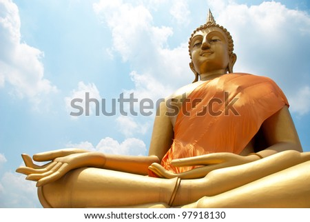 Big Buddha statue and Blue Sky in Wat thai, Bangkok, Thailand. - stock photo