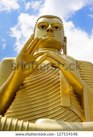 Big Buddha statue at Goldem Temple in Bandulla, Sri Lanka - stock photo