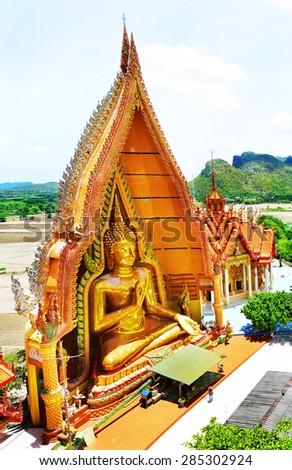 Big Buddha statue at Tiger Cave Temple (Wat Tham Sua), Kanchanaburi Province, Thailand - stock photo