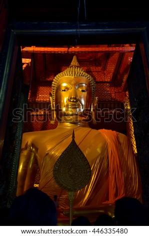 Big Buddha statue, Ayutthaya, central of Thailand, World Heritage - stock photo