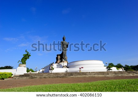 Big Buddha statue in the temple at Thailand. - stock photo