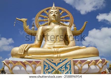 Big Buddha Temple (Wat Phra Yai) on Koh Samui island,Surat Thani,Thailand - stock photo