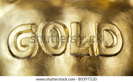Big bullion of gold. Background or texture - stock photo