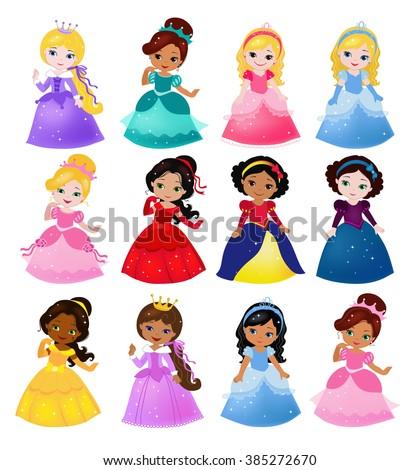 Big Bundle cute collection of beautiful princesses. Raster copy. - stock photo